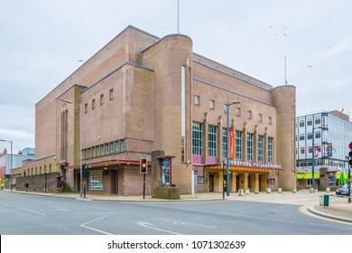 LIVERPOOL, UNITED KINGDOM, APRIL 7, 2017: View of Liverpool Philharmonic, England