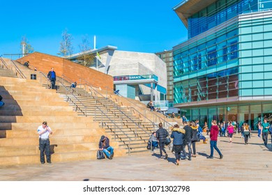 LIVERPOOL, UNITED KINGDOM, APRIL 7, 2017: People are walking through the business center of Liverpool, England