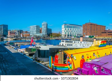 LIVERPOOL, UNITED KINGDOM, APRIL 7, 2017: View of the business center of Liverpool through Albert dock, England