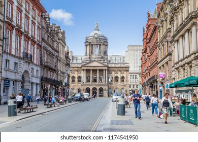 Liverpool, United Kingdom: August 02, 2018: Streetview of Castle street with a view on the ancient townhall of LIverpool.