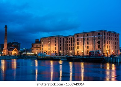 LIVERPOOL, UNITED KINGDOM - AUGUST 11: Night view of the Royal Albert Dock, a popular travel destination and UNESCO World Heritage Site on August 11, 2019 in Liverpool