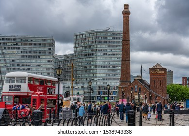 LIVERPOOL, UNITED KINGDOM - AUGUST 11: View of the Royal Albert Dock outside the famous Pump House building on August 11, 2019 in Liverpool