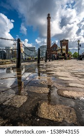 LIVERPOOL, UNITED KINGDOM - AUGUST 13: View of the Pump House on the riverside promenade at the historic Royal Albert Dock on August 13, 2019 in Liverpool