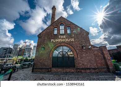 LIVERPOOL, UNITED KINGDOM - AUGUST 13: This is the Pump House, an historic industrial building which is now a pub on the Royal Albert Dock on August 13, 2019 in Liverpool