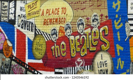 Liverpool / United Kingdom - August 2012: The Beatles artwork in Penny Lane.