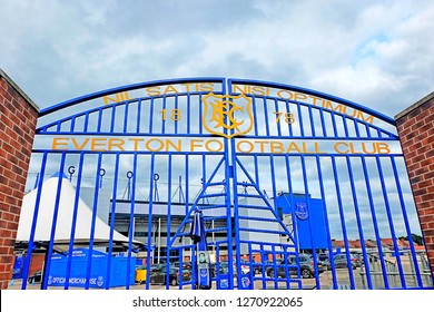 """""""Liverpool, United Kingdom- December 26,2018: A picture of Everton Football Club historical gate at Goodison Park during boxing day match."""""""