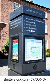 LIVERPOOL, UNITED KINGDOM - JUNE 11, 2015 - Square information post at Albert Dock, Liverpool, Merseyside, England, UK, Western Europe, June 11, 2015.