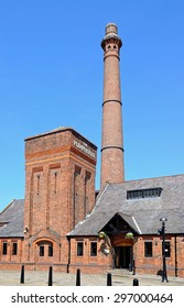 LIVERPOOL, UNITED KINGDOM - JUNE 11, 2015 - View of the Victorian Pumphouse at Albert Dock which is now a pub and restaurant, Liverpool, Merseyside, England, UK, Western Europe, June 11, 2015.