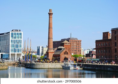 LIVERPOOL, UNITED KINGDOM - JUNE 11, 2015 - View of the Victorian Pumphouse at Albert Dock, Liverpool, Merseyside, England, UK, Western Europe, June 11, 2015.