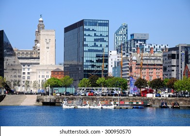 LIVERPOOL, UNITED KINGDOM - JUNE 11, 2015 - View across Salthouse Dock towards the Liver Building and modern city buildings, Liverpool, Merseyside, England, UK, Western Europe, June 11, 2015.