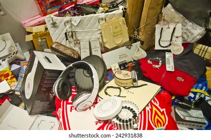 LIVERPOOL, UNITED KINGDOM - JUNE 23: seized fake designer merchandise on June 23, 2014 in Liverpool, UK. Millions of pounds worth of fake merchandise are seized by the authorities in the UK each year.