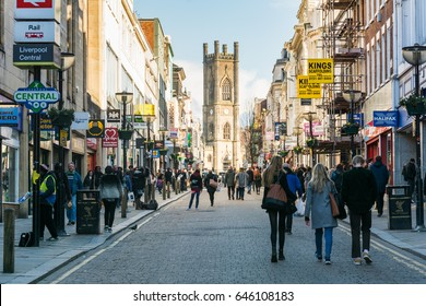Liverpool, United Kingdom: Mar 30 2016  People shopping around Liverpool Central Street on a Sunny day. Bold Street located in the heart of Liverpool city, famously having small and large businesses.