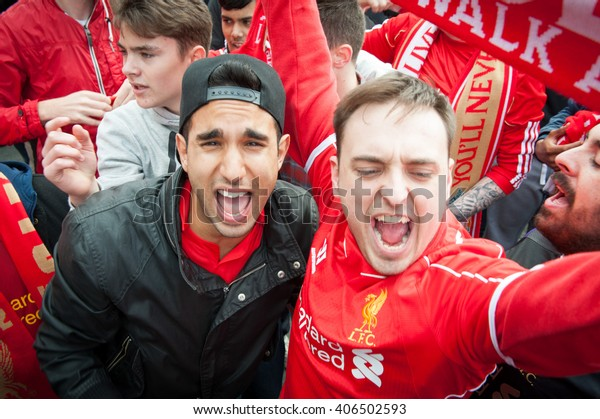Liverpool, United Kingdom - MAY 11th 2014: Liverpool Football Club supporters outside Anfield for the final title race match of the season against Newcastle