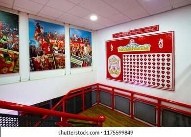 LIVERPOOL, UNITED KINGDOM - MAY 17 2018: Hills Borough memorial Mosiac at Liverpool Story Museum displays the name of the 96 victims who died in the Hillsborough disaster during the1988-1989 FA Cup