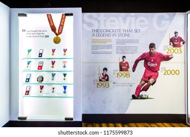 LIVERPOOL, UNITED KINGDOM - MAY 17 2018: The Steven Gerrard Collection in LFC Story museum collected incredible mementoes during a legendary and unforgettable experience for every Reds fan