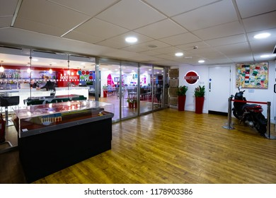 LIVERPOOL, UNITED KINGDOM - MAY 17 2018: The Boot Room sport cafe named after the famous Boot Room, informal coaches' meeting room. It's situated next to Liverpool FC Story museum in Anfield