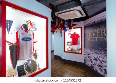 LIVERPOOL, UNITED KINGDOM - MAY 17 2018: The Liverpool FC Story is the museum that dedicated to stars of the past to present, player profiles and videos of LFC heroes in action in historic moments