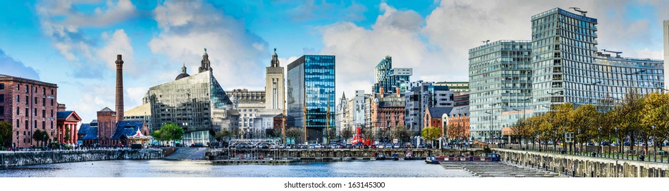 LIVERPOOL, UNITED KINGDOM - NOVEMBER 07: The skyline across Salthouse dock November 7th, 2013 in Liverpool, UK. The 25th anniversary of the Albert Dock generated a 20% increase in visitors