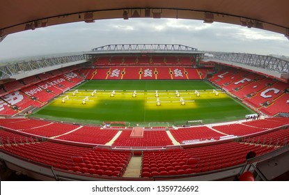 LIVERPOOL, UNITED KINGDOM - October 16, 2018: Seat rows in Anfield stadium in Liverpool UK. the most popular football Stadium in England and has been the home of Liverpool F.C. since 1892