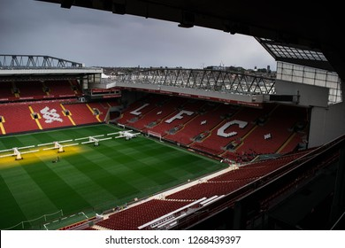Liverpool, United Kingdom UK - 06 Sept 2018 : A photograph from the stands of the ANFIELD of the football field of Liverpool Football Club