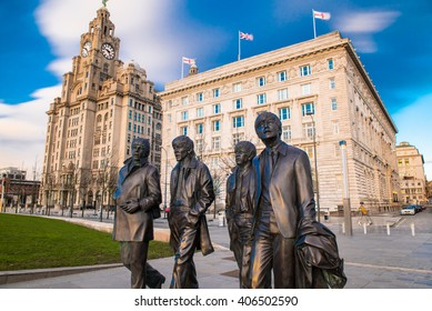 Liverpool, United Kingdoml: FEBRUARY 10th 2016 - A bronze statue of the four Liverpool Beatles stands on Liverpool Waterfront, weighing in at 1.2 tonnes and sculpted by sculpture Andrew Edwards.