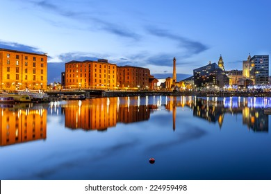Liverpool waterfront skyline with its famous buildings like Pierhead, albert dock, salt house, ferry terminal etc.