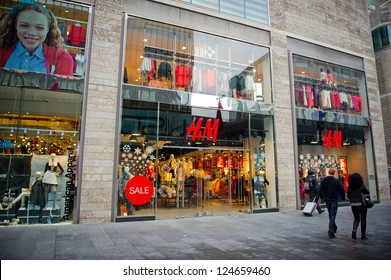 LIVERPOOL-DEC 18: H&M Store on Dec. 18, 2012 in Liverpool, United Kingdom. H&M is an international fashion retail corporation. Founded in 1947, It had  2,629 stores at end of August 2012.