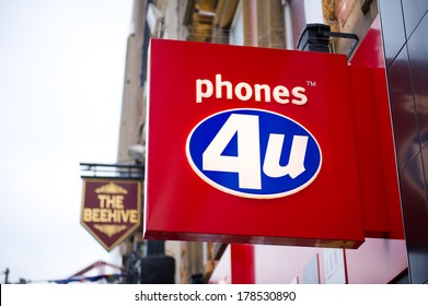 LIVERPOOL-DEC 18: Phoones 4u Store Sign on Dec. 18, 2012 in Liverpool, UK. Phones 4u is a large independent mobile phone retailer in the UK.  It has over 600 stores throughout the United Kingdom.