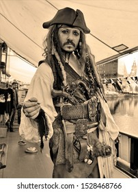Liverpool,Merseyside/England,UK- September 15 2018 : Man dressed as a pirate on board the sailing ship Zebu at Liverpool's Royal Albert Dock during the Pirates On The Dock Festival.