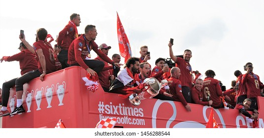 Liverpool,Merseyside/England,UK-June 2 2019 : Liverpool fans in Old Swan, Liverpool celebrate Liverpool FC winning the Champions League tile as the Liverpool players go on on a victory parade.