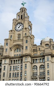 Liverpool's Historic Liver Building and Clocktower