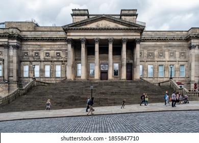 LIVERPOOL,UK - AUGUST 6,2019 : The Liverpool Central Library on the historic St George's Quarter