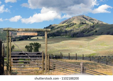 A livestock fence and entrance gate to a working western ranch