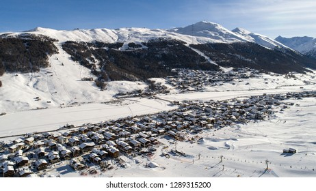 Livigno covered with snow. Famous destination in Europe. Italian Alps