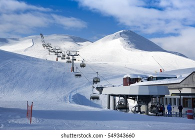 LIVIGNO, ITALY -  2 JANUARY 2016: Chairlift to the top of ski mountain in Livigno, Italy, January 2016