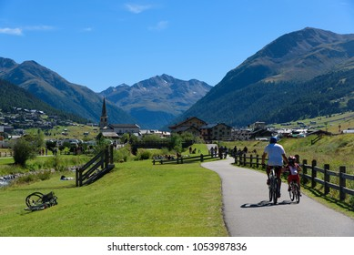 Livigno / Italy, August 22, 2016: beautiful summer day in center of Livigno, travel photography