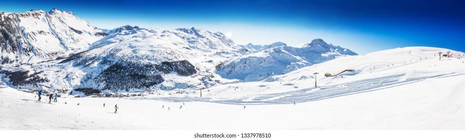 LIVIGNO, ITALY - Feb. 2019 - Skiers skiing in Carosello 3000 ski resort, Livigno, Italy, Europe.