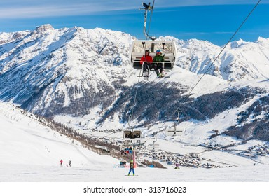 LIVIGNO, ITALY - JANUARY 28, 2015: Ski lift. Ski resort Livigno, Lombardi, January 28, 2015, Italy. Livigno is developing ski resort in northern Italy