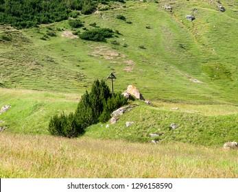 Livigno, Italy - July 21, 2017: Mountain landscape of Val Federia
