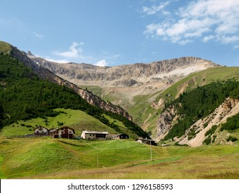 Livigno, Italy - July 21, 2017: Mountain landscape of Val Federia