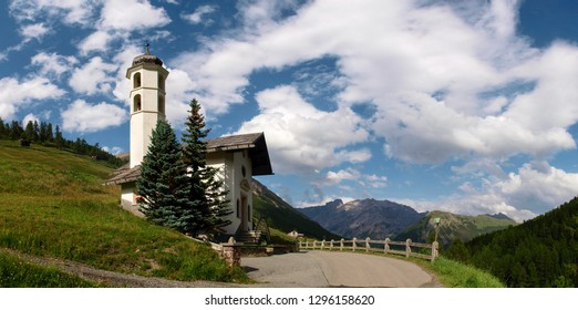Livigno, Italy - July 21, 2017: Small church in the Val Federia