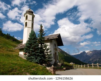 Livigno, Italy - July 21, 2017: Small church in the Val Federia