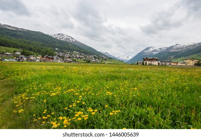 LIVIGNO, ITALY, JUNE 21 2019 - Summer view of Livigno, an Italian town in the province of Sondrio in Lombardy and renowned winter and summer tourist resort in the Alps, Italy.