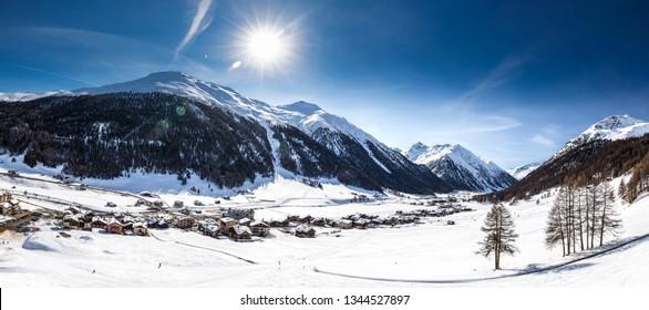 Livigno village covered by fresh snow, Livigno, Italy, Europe.