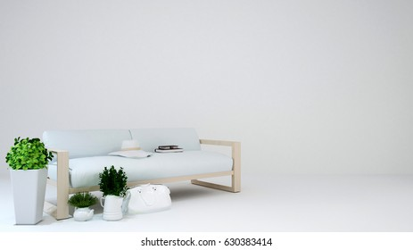 living area on white background - 3D Rendering