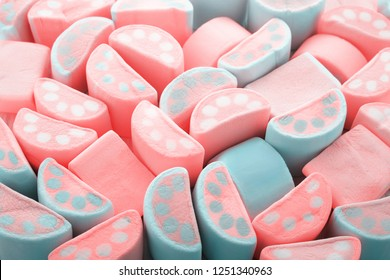 Living Coral color of the Year 2019 Color palette. Pastel colors abstract background of Marshmallows.