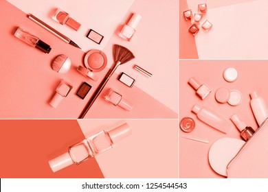 Living coral color of the year 2019 collage design: fashion beauty cosmetics set. Trendy colors concept. 16-1546