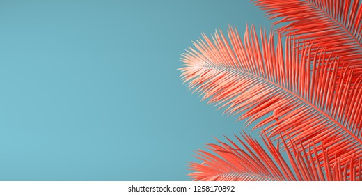 Living Coral color of the Year 2019. Background with palm in trendy color