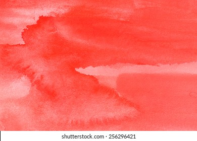 Living Coral - Trend Color of the Year 2019 - Intense red watercolor on paper background