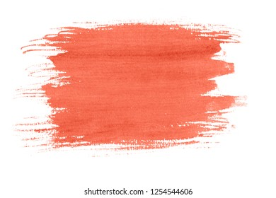 Living Coral watercolor background isolated on white. Bright picture, color of the year 2019. 16-1546